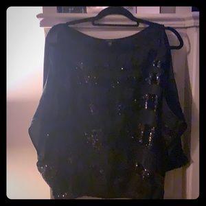 Bebe black sequined and sheer cold shoulder top!